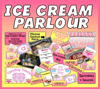 ICE-CREAM PARLOUR SHOP ROLE PLAY TEACHING RESOURCES KEY STAGE 1-2 FOOD SUMMER