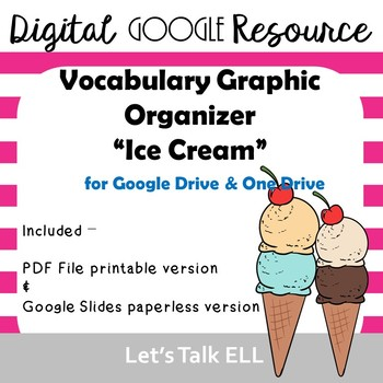 ICE CREAM themed Vocabulary GRAPHIC ORGANIZER - Digital Google Resource