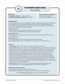 ICEBERGS—Geography Worksheets and Activities