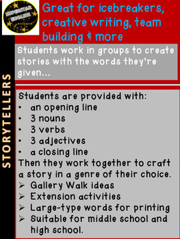 "ICEBREAKER ""Storytellers"" - Team Building, All Subjects - Advisory - Staff"