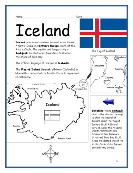 photograph about Iceland Map Printable called ICELAND - Printable Geography worksheet with map and flag TpT