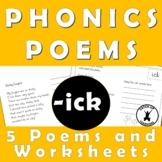 {PHONICS POEMS} {Rhyming words worksheets} {ick sound worksheets}