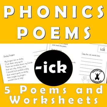 {PHONICS POEMS} {Rhyming words worksheets} {ick sound worksheets}