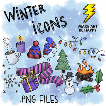 ICONS: Winter and Holiday .PNG Sketchnote Icons