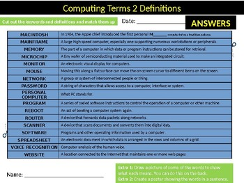 ICT Key Terms #2 Definitions Matchup Puzzle Sheet Keywords Computer Science