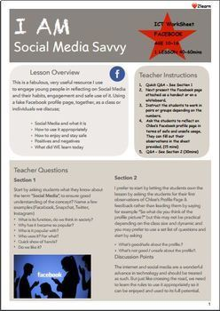 ICT Lesson Plan / Activity / Worksheet : I AM Social Media Savvy - Facebook