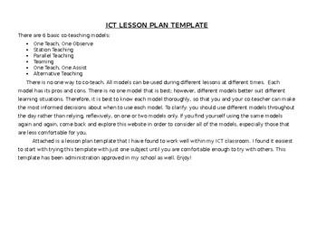 Ict Lesson Plan Template By Stephanie Rudnick Teachers Pay Teachers