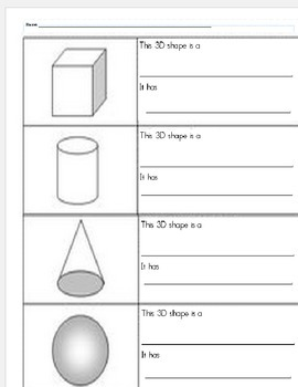 ID and describe the 3D shapes: cone, cube, cylinder, and sphere.