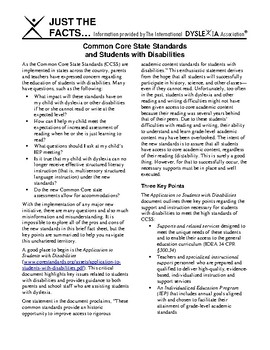 IDA Dyslexia and CCSS Common Core State Standards