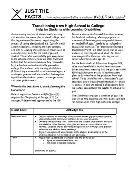 IDA Dyslexia and High School to College Transition