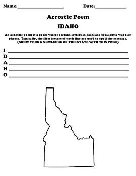 IDAHO Acrostic Poem Worksheet