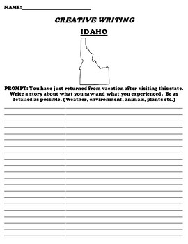 IDAHO CREATIVE WRITING  DIFFERENTIATED WORKSHEET