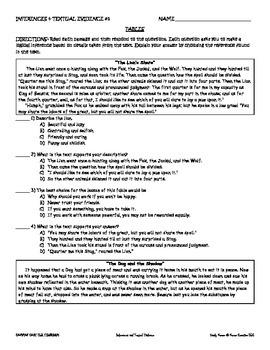 MIDDLE SCHOOL CCSS SKILLS PRACTICE: LITERATURE (RL 6.1, 7.1, & 8.1)