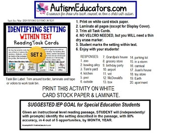 "IDENTIFY SETTING IN TEXT Task Cards ""Task Box Filler"" Autism and Special Needs"