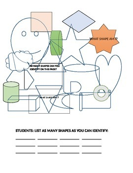 IDENTIFY THE SHAPES COLORING PAGE! GRADES 2-5