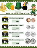 IDENTIFYING COINS WITH  LUCKY THE LEPRECHAUN math worksheet