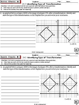 IDENTIFYING TRANSFORMATIONS (HS Geometry Curriculum in 5 min tasks - Unit 24)