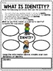 IDENTITY- introduction to the theme, what is identity? Personal, worksheet