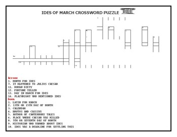 IDES OF MARCH CROSSWORD PUZZLE W/ ANSWER KEY