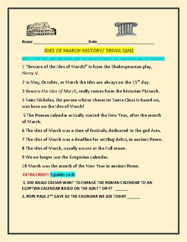 IDES OF MARCH HISTORY/ TRIVIA QUIZ: SEE HOW MANY YOU GET CORRECT!