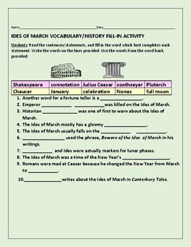 IDES OF MARCH VOCABULARY/ HISTORY FILL-IN ACTIVITY