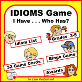 "IDIOMS - Figurative Language GAME ... ""I have, Who has?"" Review  Gr 4-5 Core"