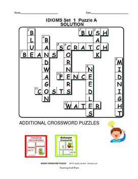 IDIOMS | Early Finishers | CROSSWORD PUZZLES | FUN Review | Gr  4-5-6