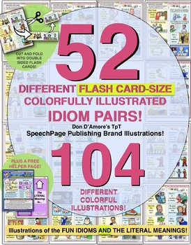 IDIOMS MEGA PACK! 52 DIFFERENT FLASH CARDS! DOUBLE-ILLUSTRATED PAIRS!