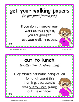 IDIOMS • Set 4 | Figurative Language CORE | BB Cards | Task Cards | Worksheets +