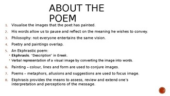 IEB Poetry: A Poem is a Painting PowerPoint Presentation