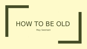 IEB Poetry: How to be Old PowerPoint Presentation