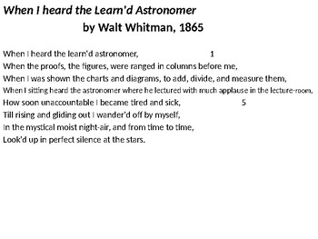 IEB Poetry: The Learn'd Astronomer PowerPoint Presentation