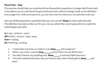 IELTS Speaking Vocabulary Worksheet - Topic: Sleep and Sleeping