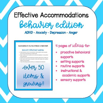 Behavior Accommodations by Inclusion Essentials | TpT