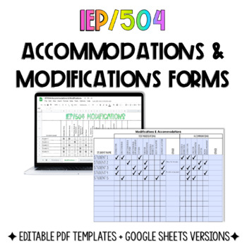IEP/504 Modifications & Accomodations Forms
