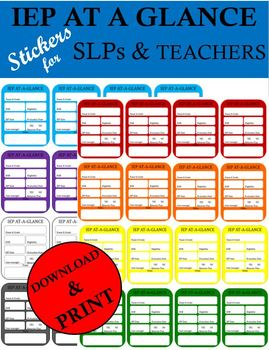 IEP AT A GLANCE STICKERS FOR SLPS AND TEACHERS