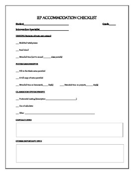 IEP Accommodation Checklist