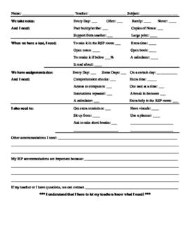 IEP Accommodation Worksheet