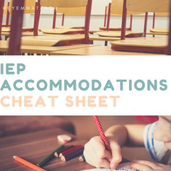 IEP Accommodations Cheat Sheet