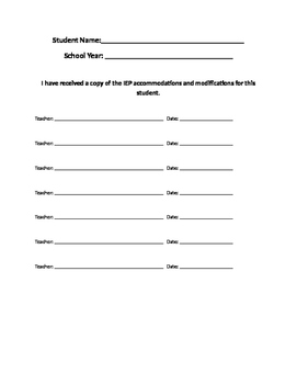 IEP Accommodations Received Form