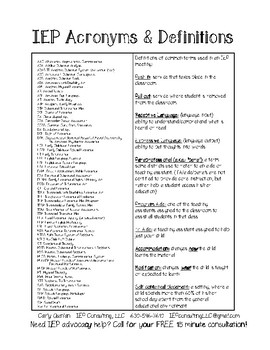 IEP Acronyms & Definitions