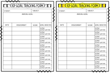 IEP Annual Goals Tracking Sheet