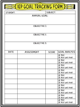 IEP Annual Goals and Objectives Tracking Sheet
