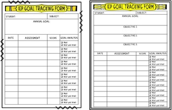 IEP Annual Goals and Objectives Tracking Sheets!