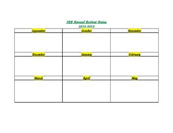 IEP Annual Review Dates Calendar