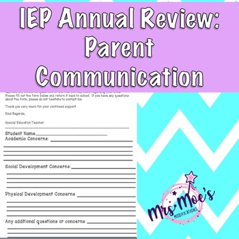 IEP Annual Review- Parent Communication