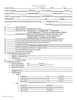 IEP Assessment Check list