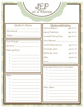 """Editable """"IEP At A Glance"""" form (brown/teal)"""