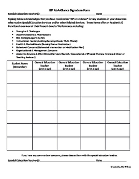 IEP At-A-Glance Signature Form