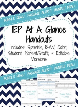 IEP At A Glance Editable Bundle (Black&White,Color,Student,and Spanish Versions)